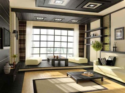 Asian Living Room Design living room asian enclosed living room idea in san francisco with beige walls Japanese Living Room Design